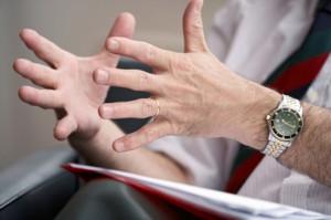 hands in a conversation